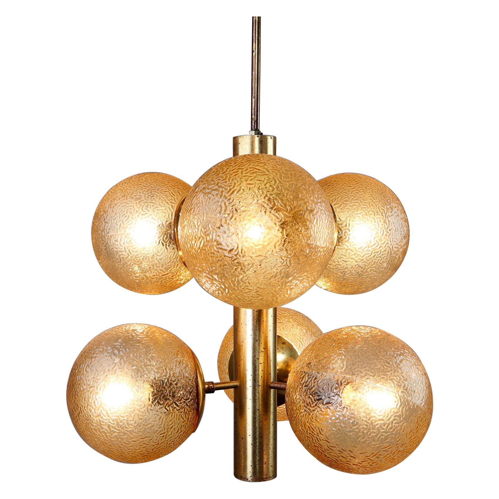 Stunning Kaiser Sputnik Glass Globes Patinated Brass Chandelier, Germany, 1970s