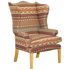 Stunning Kilim Wool Upholstered Wingback Armchair Beech Frame Diamond Pattern