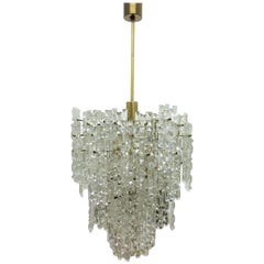 Large Kinkeldey Chandelier, Brass and Grip Crystal, Germany, circa 1960s