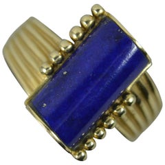 Stunning Lapis Lazuli and 14 Carat Gold Solitaire Statement Ring