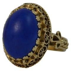 Stunning Lapis Lazuli and 14 Carat Gold Unique Statement Ring