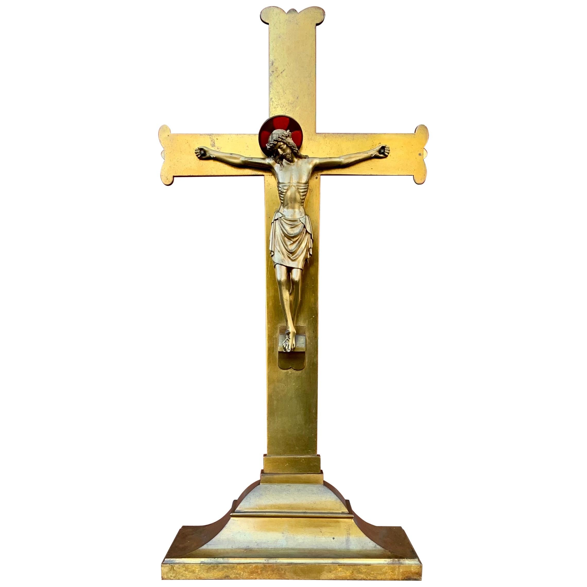 Stunning & Large Altar Crucifix with Detailed Bronze Sculpture of Christ, 1910s