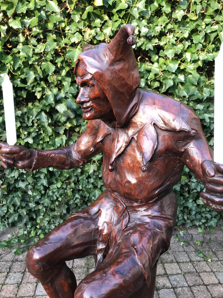 French Stunning, Large and Hand Carved Renaissance Revival Court Jester Sculpture For Sale