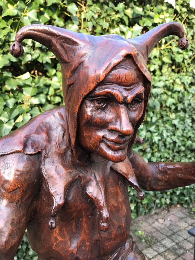 19th Century Stunning, Large and Hand Carved Renaissance Revival Court Jester Sculpture For Sale