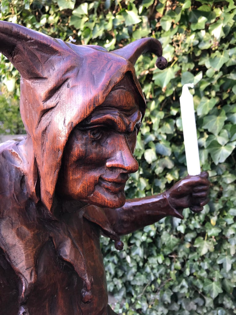 Oak Stunning, Large and Hand Carved Renaissance Revival Court Jester Sculpture For Sale