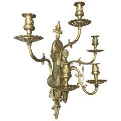 Atemberaubende & große antike Bronze Wandlampe / Kerzenwandleuchter mit Göttinnen Skulptur