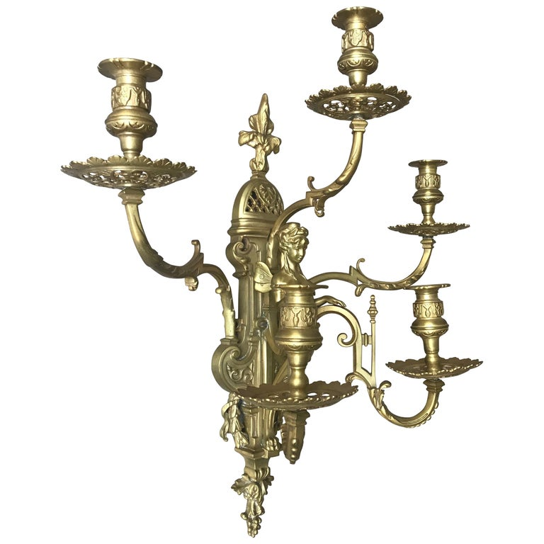Wall Light Sculpture: Stunning And Large Antique Bronze Wall Lamp / Candle