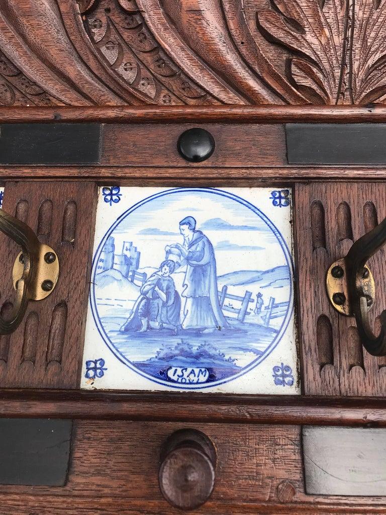 Stunning Large Antique Wall Coat Rack & Shelf w. Delft Blue Biblical Scene Tiles For Sale 2