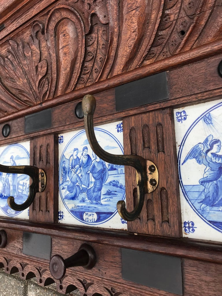 Stunning Large Antique Wall Coat Rack & Shelf w. Delft Blue Biblical Scene Tiles For Sale 3