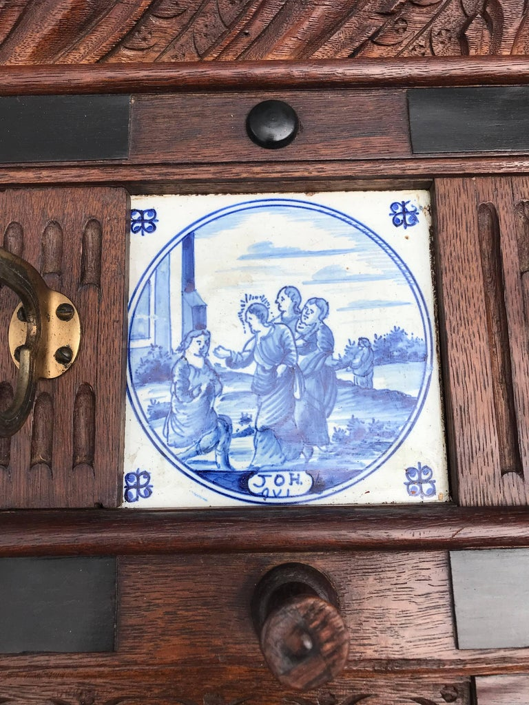 Stunning Large Antique Wall Coat Rack & Shelf w. Delft Blue Biblical Scene Tiles For Sale 4