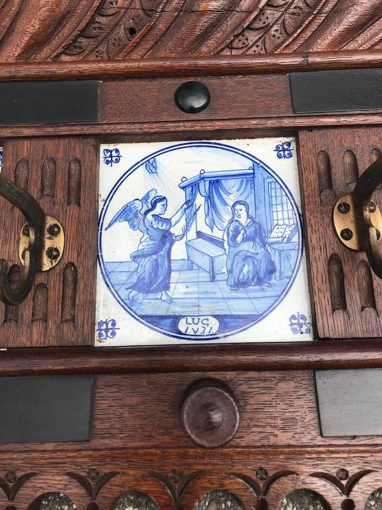Stunning Large Antique Wall Coat Rack & Shelf w. Delft Blue Biblical Scene Tiles For Sale 5