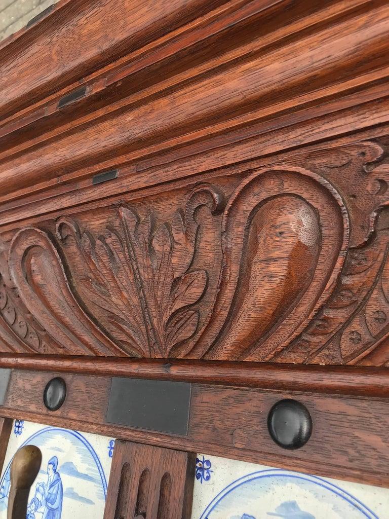 Stunning Large Antique Wall Coat Rack & Shelf w. Delft Blue Biblical Scene Tiles For Sale 7