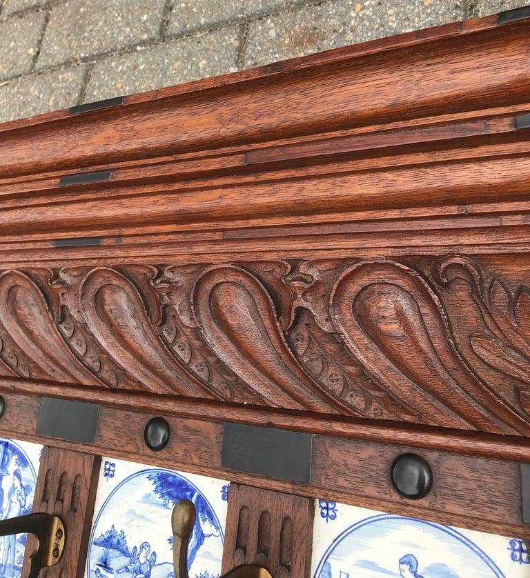 Stunning Large Antique Wall Coat Rack & Shelf w. Delft Blue Biblical Scene Tiles For Sale 9