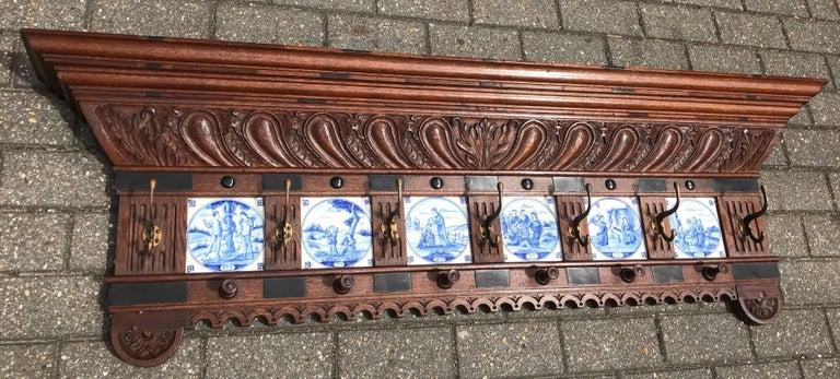 Stunning Large Antique Wall Coat Rack & Shelf w. Delft Blue Biblical Scene Tiles For Sale 10