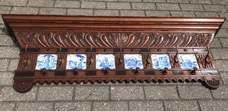 Stunning Large Antique Wall Coat Rack & Shelf w. Delft Blue Biblical Scene Tiles For Sale 11