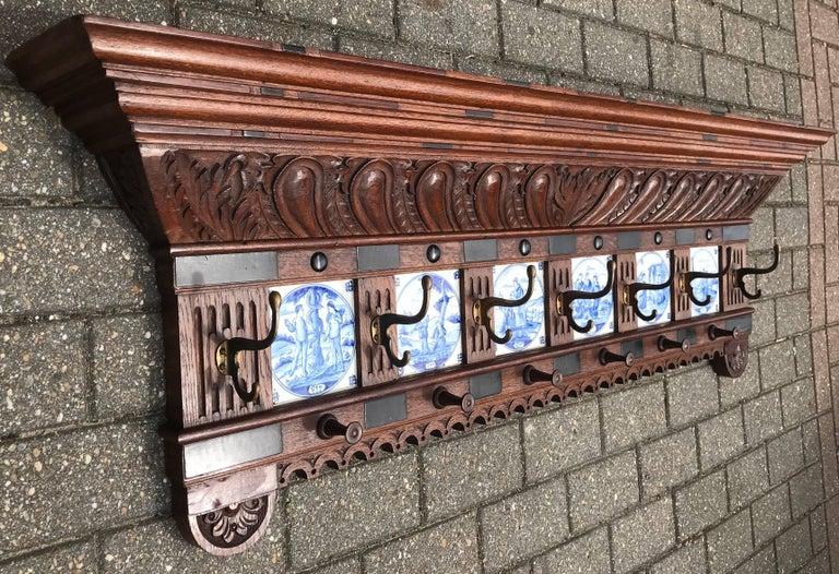 Stunning Large Antique Wall Coat Rack & Shelf w. Delft Blue Biblical Scene Tiles For Sale 12