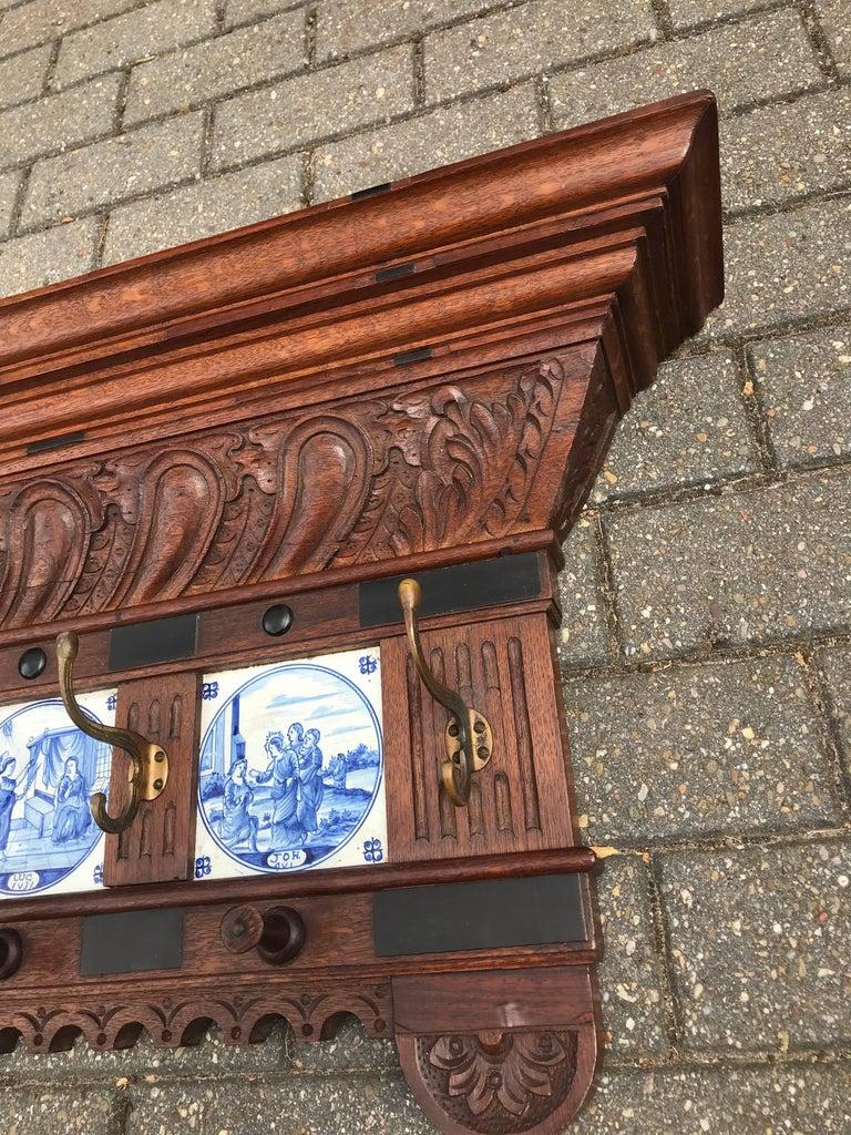 Renaissance Revival Stunning Large Antique Wall Coat Rack & Shelf w. Delft Blue Biblical Scene Tiles For Sale