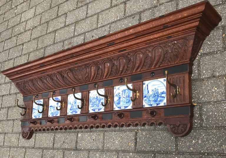 Dutch Stunning Large Antique Wall Coat Rack & Shelf w. Delft Blue Biblical Scene Tiles For Sale