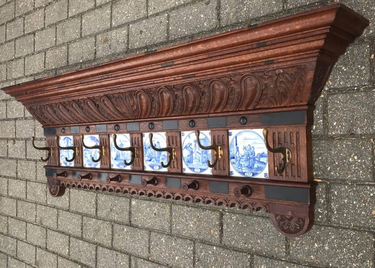 Cast Stunning Large Antique Wall Coat Rack & Shelf w. Delft Blue Biblical Scene Tiles For Sale