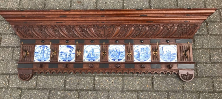 Stunning Large Antique Wall Coat Rack & Shelf w. Delft Blue Biblical Scene Tiles In Excellent Condition For Sale In Lisse, NL
