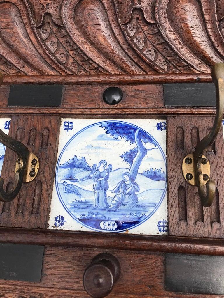 19th Century Stunning Large Antique Wall Coat Rack & Shelf w. Delft Blue Biblical Scene Tiles For Sale