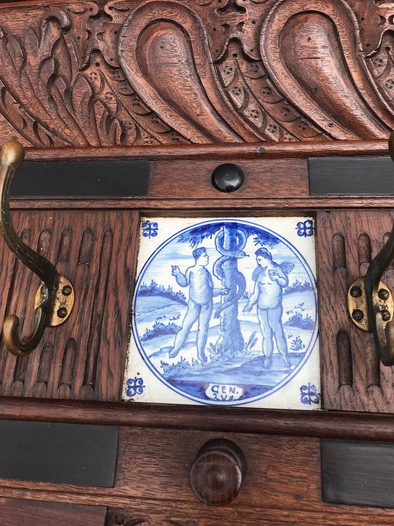 Bronze Stunning Large Antique Wall Coat Rack & Shelf w. Delft Blue Biblical Scene Tiles For Sale