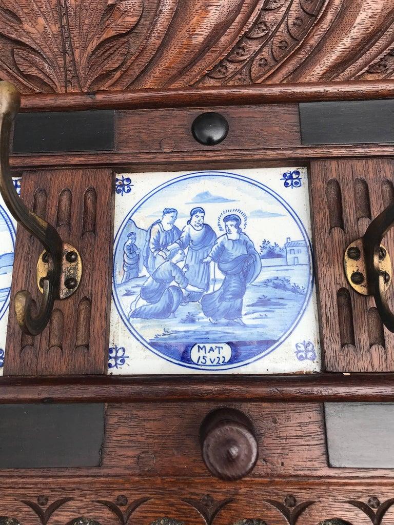 Stunning Large Antique Wall Coat Rack & Shelf w. Delft Blue Biblical Scene Tiles For Sale 1