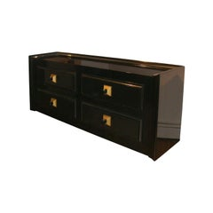 Stunning Large Black Lacquered Cabinet by James Mont