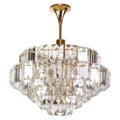 Stunning Large Chandelier, Brass and Crystal Glass by Kinkeldey, Germany, 1970s