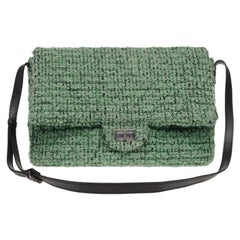 Stunning Large Chanel 2.55 handbag in green tweed and silver hardware