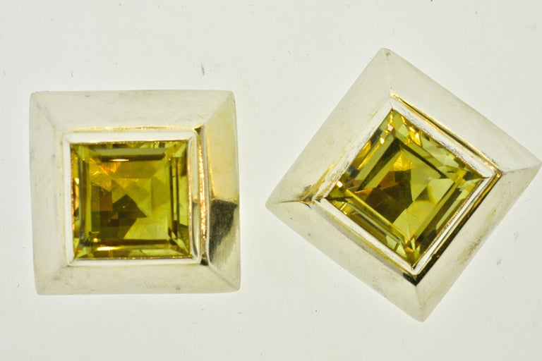 Stunning Large Citrine Earrings in Sterling by Mark Spirito In Excellent Condition For Sale In Aspen, CO
