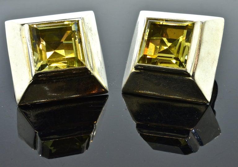 Women's or Men's Stunning Large Citrine Earrings in Sterling by Mark Spirito For Sale
