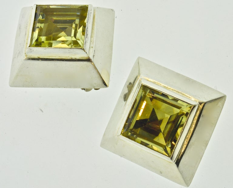 Stunning Large Citrine Earrings in Sterling by Mark Spirito For Sale 2
