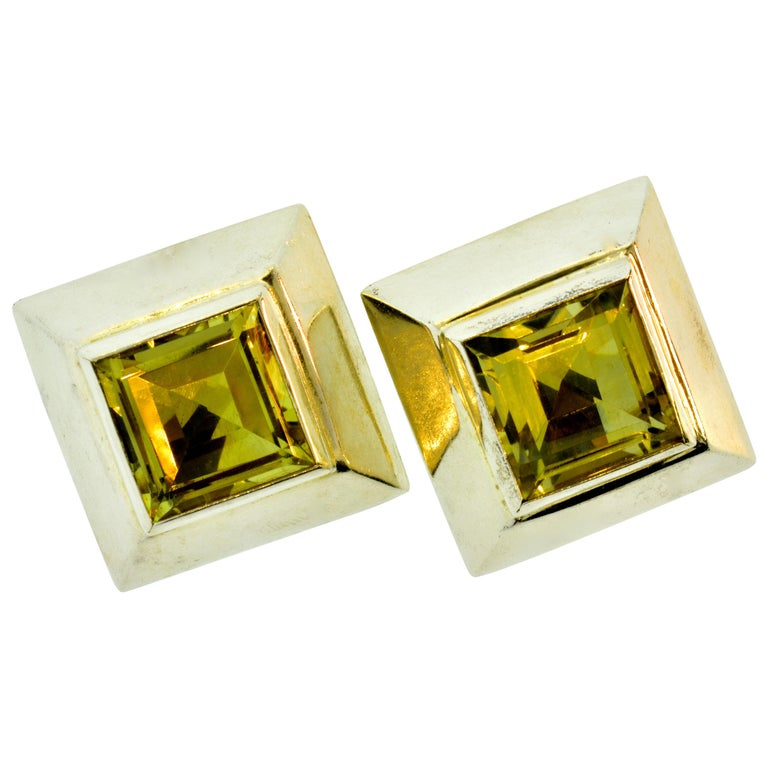 Stunning Large Citrine Earrings in Sterling by Mark Spirito For Sale