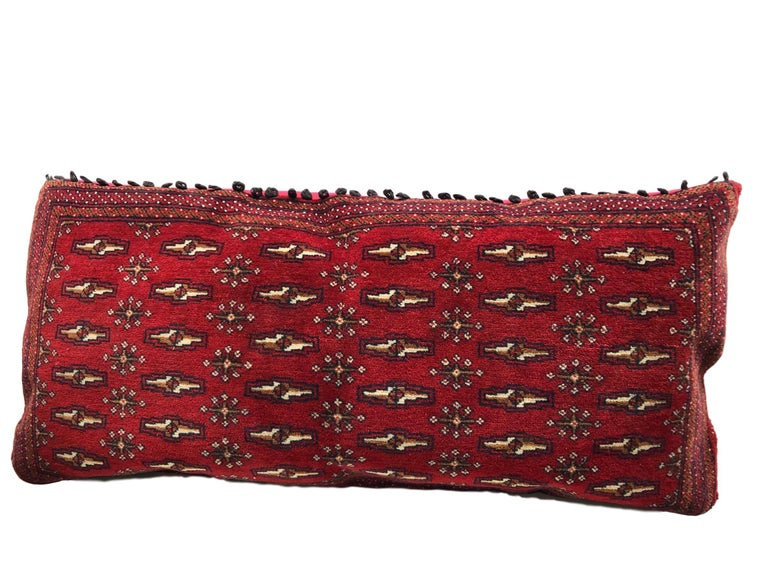 Gorgeous large pillow or bench seat pillow. Handmade of a woolen oriental rug. A nice decorative pillow in very good condition. Condition like seen in picture.