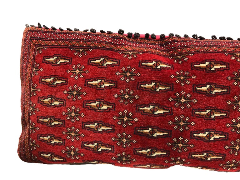 Turkish Stunning Large Custom Pillow Cut from a Vintage Hand-Loomed Wool Berber Rug For Sale