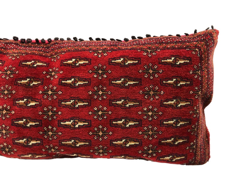 Hand-Knotted Stunning Large Custom Pillow Cut from a Vintage Hand-Loomed Wool Berber Rug For Sale