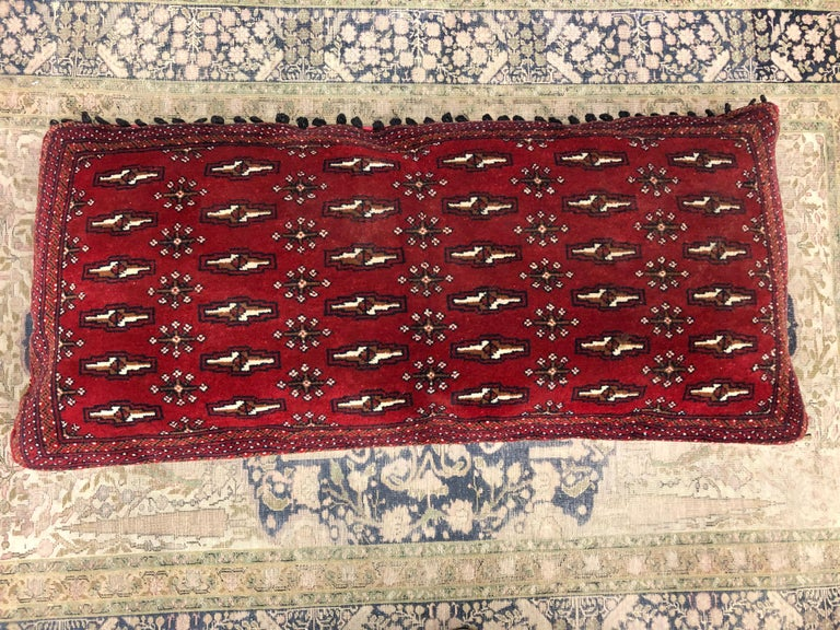 Stunning Large Custom Pillow Cut from a Vintage Hand-Loomed Wool Berber Rug In Good Condition For Sale In Nürnberg, DE