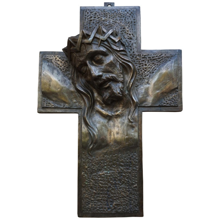 Stunning, Large & Handcrafted Bronze Art Deco Crucifix with Christ Suffering For Sale