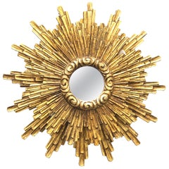 Stunning Large illuminated Starburst Sunburst Gilded Wood Mirror Wall Lamp 1950s