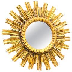 Stunning Large Italian Starburst Sunburst Gilded Wood Mirror, circa 1910s