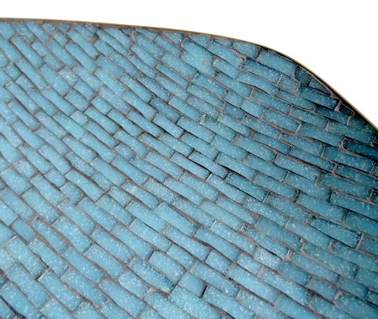Stunning Large Midcentury Asymmetric Turquoise Enamel Mosaic & Brass Bowl, 1960 10