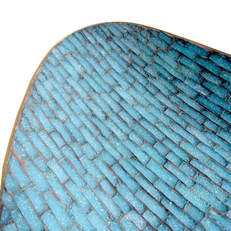 Stunning Large Midcentury Asymmetric Turquoise Enamel Mosaic & Brass Bowl, 1960 12