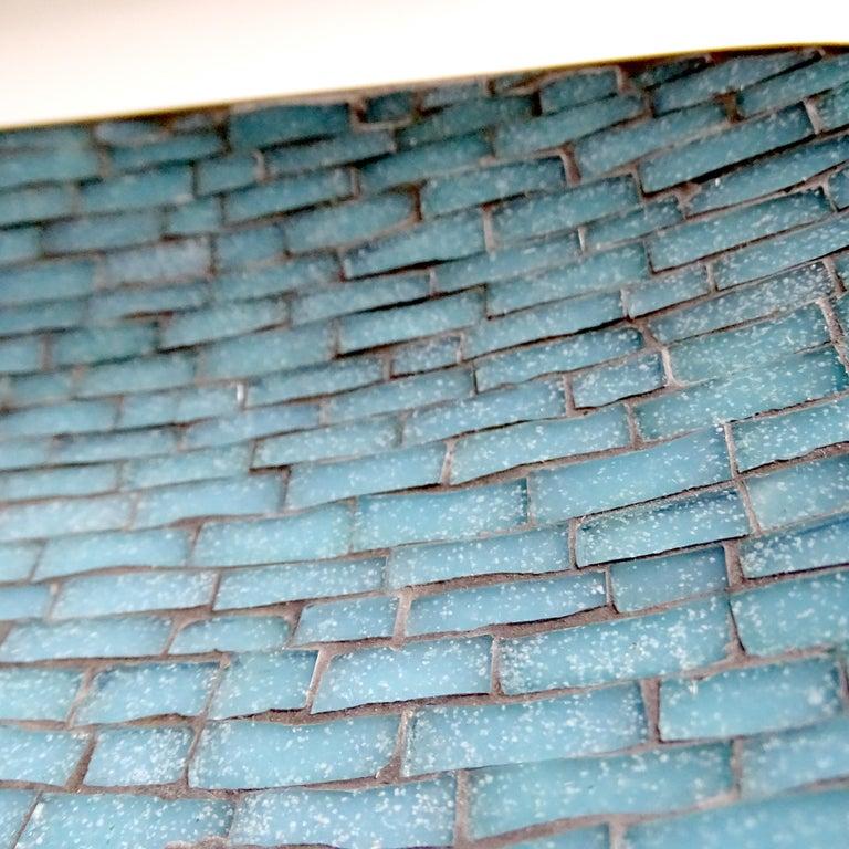 Stunning Large Midcentury Asymmetric Turquoise Enamel Mosaic & Brass Bowl, 1960 13
