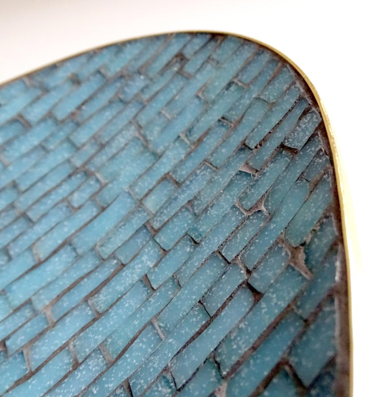 Stunning Large Midcentury Asymmetric Turquoise Enamel Mosaic & Brass Bowl, 1960 14