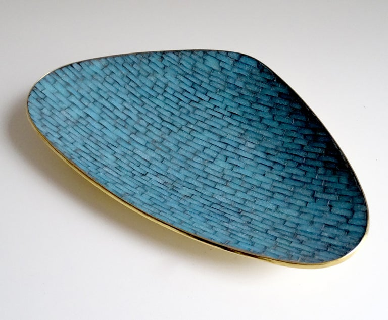 Rare and exquisite large asymmetric midcentury glazed turquoise enamel mosaic and brass bowl, marked with date 1960.