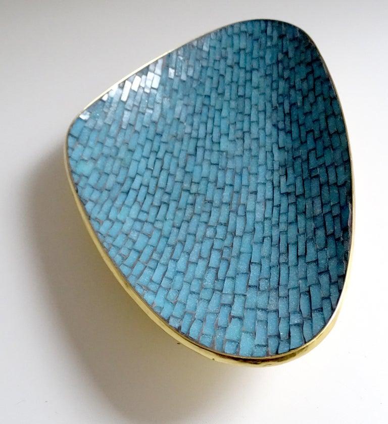 Stunning Large Midcentury Asymmetric Turquoise Enamel Mosaic & Brass Bowl, 1960 3
