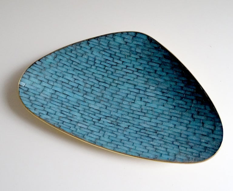 Stunning Large Midcentury Asymmetric Turquoise Enamel Mosaic & Brass Bowl, 1960 4