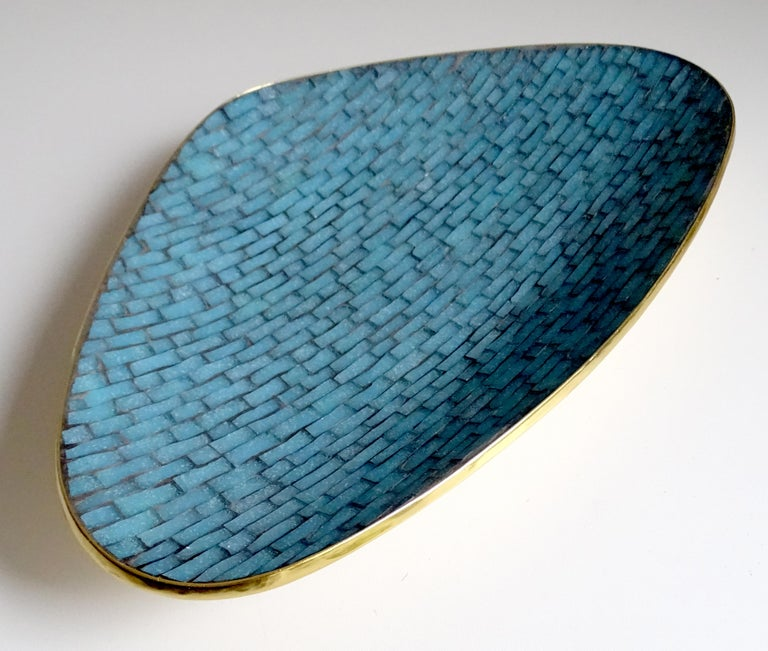 Stunning Large Midcentury Asymmetric Turquoise Enamel Mosaic & Brass Bowl, 1960 In Excellent Condition For Sale In Bremen, DE