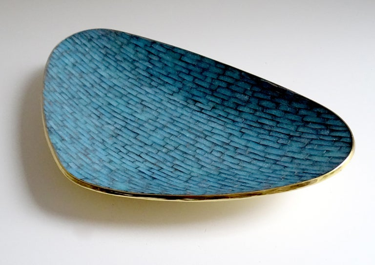 Mid-20th Century Stunning Large Midcentury Asymmetric Turquoise Enamel Mosaic & Brass Bowl, 1960 For Sale
